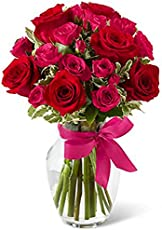 FloraZone Pretty Twenty Red and Pink Roses in A Glass Vase Same Day Delivery