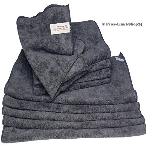 Price-Limit-Shop24 Microfaser Tücher Tuch Mikrofaser Poliertücher Premium XL Boden 50 x 60 cm Grau 10 Stück (XL)