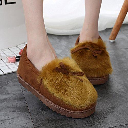 Brown Donna antiscivolo LaxBa pantofole Indoor Uomo pattino nCq88wZaY