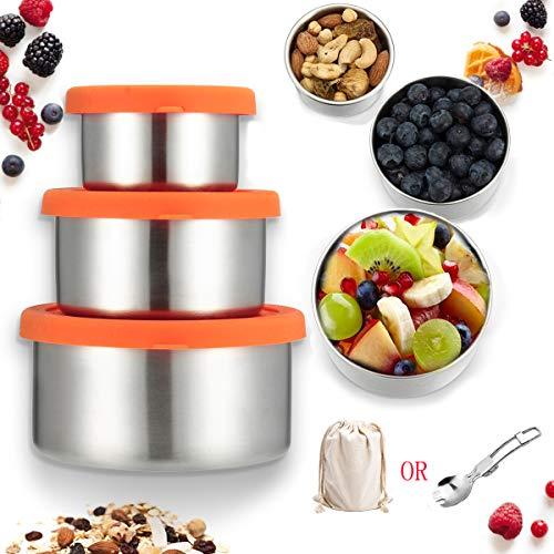 Janolia 3pcs contenitori per alimenti, contenitori ecologici in acciaio inox 304 e silicone, scatola di sicurezza e sanitari riciclati, ciotole di merenda impilabile,una borsa a caso o un cucchiaio