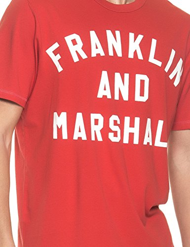 Franklin & Marshall Men's Men's Light Grey T-Shirt With Print 100% Cotton Red