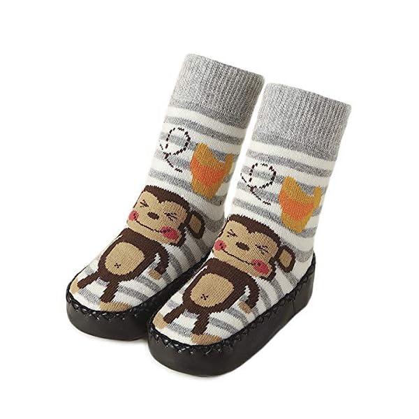 Adorel Calcetines Zapatos Antideslizantes para Bebé 3 Pares 5