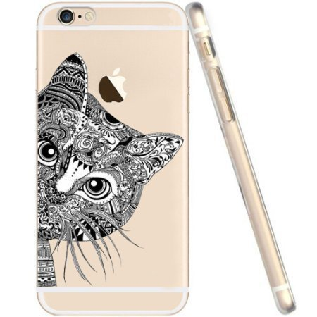 Blitz® Fanty Schutz Hülle Transparent TPU Cartoon Comic Case iPhone Love Laugh Life iPhone 6sPLUS Schwarze Katze
