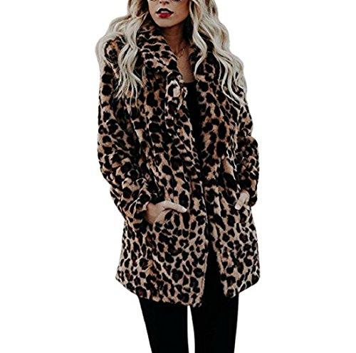 fake felljacke AKAUFENG Pelzmantel Damen Leopard Streifen Jacke mit Tasche bis zu Oberschenkel Design, Felljacke Damen Faux Fur Jacke