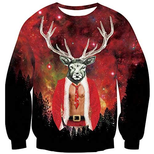 (Goodstoworld Rentier Weihnachtspullover Hässliche Herren Männer 3D Pullover Weihnachten Funny Reindeer Ugly Christmas Sweater S)