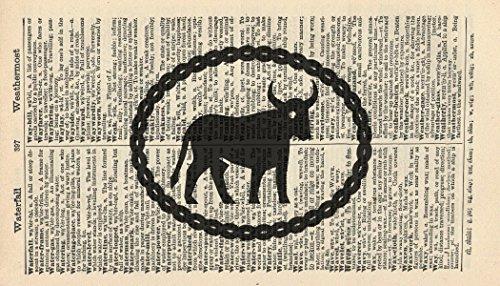 taurus-art-print-horoscope-art-print-vintage-art-print-vintage-dictionary-art-print-birthday-gift-wa