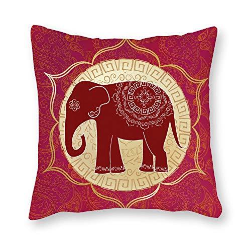 Mesllings - Funda de cojín con diseño de Elefante Indio con Mandalas para sofá, Sala de Estar, Oficina Familiar, 26x26