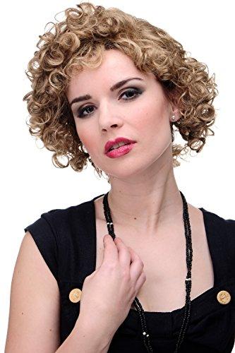 WIG ME UP - Damenperücke Perücke 80er Kurzhaarfrisur lockig Locken Scheitel dunkelblond mix GF-W2182-15H12 (Madonna Perücke 80er Jahre)