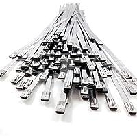 5, 4.6mm x 200mm fascette in acciaio inossidabile Tie zip Wrap cinghie di scarico calore induzione tubo