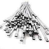 5, 4,6 mm x 200 mm Inox Edelstahl Metall Kabelbinder Krawatte Zip Wrap Auspuff Träger Induktion Rohr Hitze