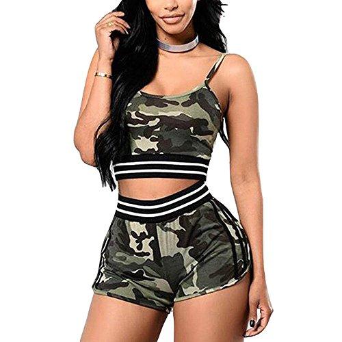 Frauen Sport Camouflage Shorts Sets Damen Trainingsanzug Casual T-Shirt Top Weste + Kurze Gym Yoga Workout Laufbekleidung Sportwear Anzug Pack von 2 Stück (Für Workout-shorts Frauen-pack)