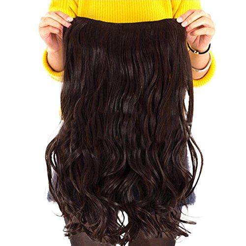 Contever® Onduladas Extensiones de Clip de Pelo Natural Pelucas Cabello del Salón de Belleza del Cabello para Mujer de La Moda de 55 cm (L) x 25 cm (W) - Marrón