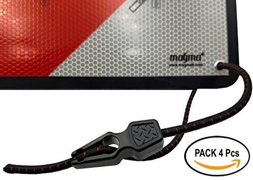 Magma Pack 4 elastische Spanngurte, mit Spannklemmen, zur Befestigung von Schildern, Fahrrädern, Motorrädern, Objekte mit Ösen, Markisen, Leinwände. elastische Spanngurte mit einstellbarer Länge. (Fahrrad Schild)