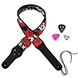 Rayzm Guitar Strap/Bass Strap, Cotton Belt for Acoustic/Electric /Bass Guitar with Pick Pocket & 3 picks, Beautiful Rose with Cool Skull Pattern, 5cm Wide, Adjustable Length from 100 cm to 156 cm.