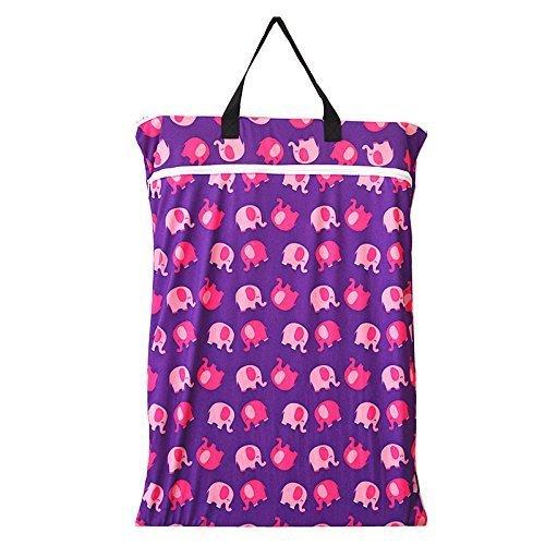 Groß zum Aufhängen Nass/Trocken Tuch Windel, die Sie Tasche für Wiederverwendbare Windeln oder Wäschebox Lila Elefant