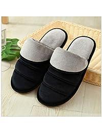 GAOHUI Slippers Los Hombres Invierno Térmicos Skid Zapatillas De Algodón Amantes De La Moda Home Zapatos,Negro (Macho),38-39