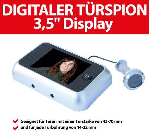 mit extragro/ßem 8,9 cm Display und T/ürkamera f/ür 38 bis 72 mm dicke T/üren Intersteel Digitaler T/ürspion