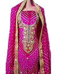Art Silk Suit With Gota Patti Handwork Neck Work Bandhini Suit, Dupatta Art Silk Bandhej Jaipuri Rajasthani With...