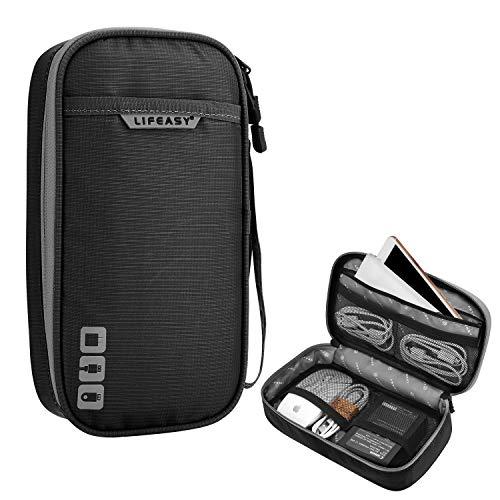 REXSO Electronics Kabel Tasche, Kabel Organizer Reisetasche Wasserdicht für Elektronische Geräte und Zubehör, für Kabel, Ladegerät, Powerbank, Adapter, Maus, SD-Karten (S - Einzelschicht, Schwarz)