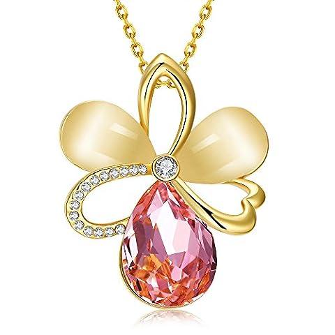 18K vergoldet rosa Kubisches Zirkonoxid Opal Blumen-Anhänger Halskette für Frauen Modeschmuck , 18