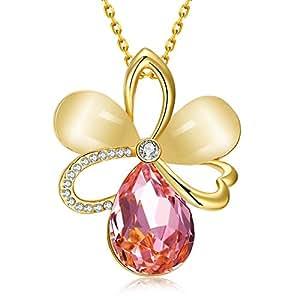 """dilanca 18K Placcato Oro Rosa Cristallo Swarovski Elements rosa opale ciondolo collana per le donne fashion jewelry, 18""""+ 2.5, oro giallo placcato, colore: Oro giallo, cod. HNL0001SY"""