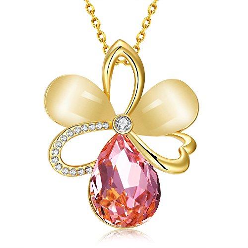 Collana placcata in oro rosa 18ct, ciondolo a forma di fiore con opale e cristallo swarovski e placcato oro, colore: yellow gold, cod. hnl0001sy