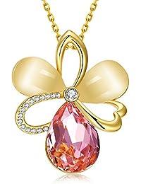 """dilanca chapados en oro de 18K Rose elementos de Swarovski Cristal Rosa Collar con Colgante de ópalo para las mujeres Moda Joyas, 18""""+ 2.5extensor"""