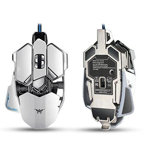 combaterwing Gaming Maus 4800dpi Grundlage von aluminium, ollivan 10Knöpfe, USB LED RGB Professionell programmierbar Gaming-Mäuse Wired für PC Laptop Computer Pro Gamer (weiß)