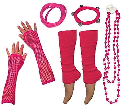 A-Express 80er Damen Neon Beinstulpen Handschuhe Halskette Shamballa Tüll Fluo Ballett Verkleidung Party Tutu Kostüm