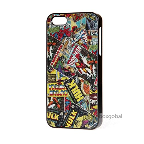 fumetti-marvel-spiderman-hulk-thor-iphone-5-5s-custodia-per-cellulare-senza-p-p-nero