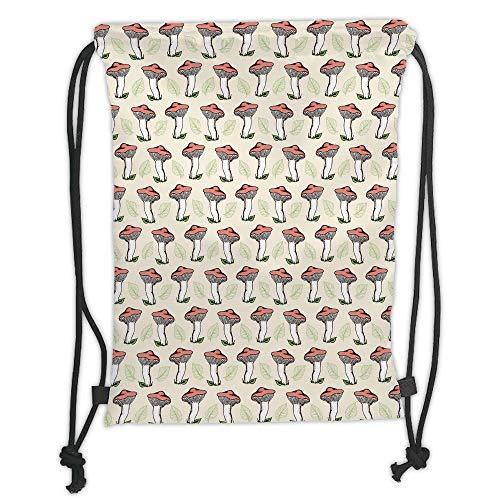 LULUZXOA Gym Bag Printed Drawstring Sack Backpacks Bags,Mushroom,Vintage Hand Drawn Style Forest Mushrooms Falling Leaves Tasty Vegan Food,Coral Green Cream Soft Satin
