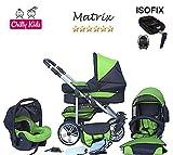 Chilly Kids Matrix II Kinderwagen Safety-Set (Autositz & ISOFIX Basis, Regenschutz, Moskitonetz, Schwenkräder) 29 Schwarz & Grün