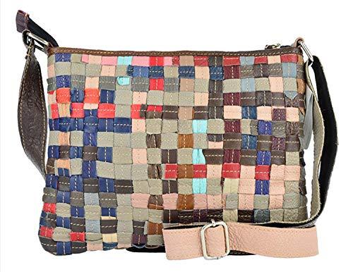 WOOD BAG Patchwork Handtasche Leder Damen Echtleder Rindleder Unikat Bunt geflochten Flechtung Umhängetasche individuelle Handtasche WB102A - Rindleder-umhängetasche Handtasche