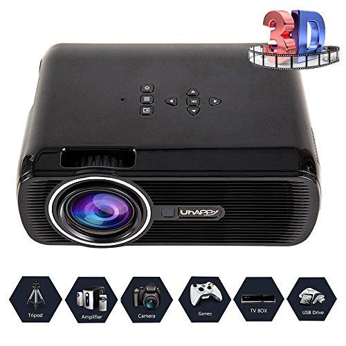 Seebesteu LED Beamer Projektor Heimbeamer 3000 Lumens Heimkino1080p Full HD Video HDMI USB VGA