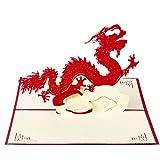 Kofun 3D Knallen Oben Gruß-Karte mit Umschlag-Papier Handwerks-Weihnachtsgeburtstags Jahr-Einladung Chinesischer Drache der Weinlese 15x15 cm/5.91x5.91 inch