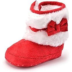 Minetom Morbido Ragazza Cotone Shoes Bootie Stivaletti Bambini Comodi Eleganti Infantile Bambino 6-18 Mesi Cashmere Inverno Caldo Stivali Rosso 13cm