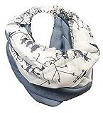 Äste Vogel Design LOOP Bird Cotton Uni Rundschal Schlauchschal Frühling Sommer Stola Schal Wolle (Blau)