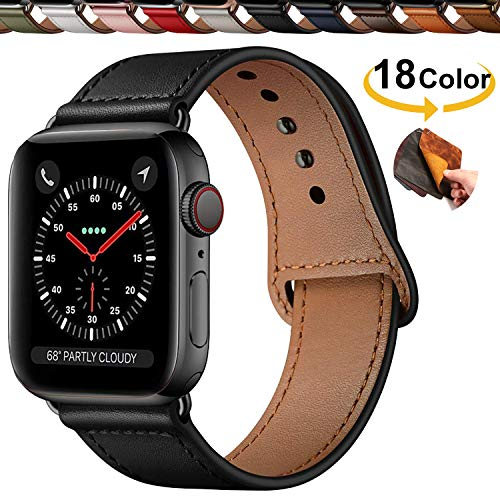 Chok Idea Innovative Schnalle Echtes Leder Uhrenarmbänder Compatible with Apple Watch Armband 40mm 38mm,Versteckt Buckle Minimalistisch Lederarmband Replacment for iWatch Series 5 & 4 3/2/1,Black
