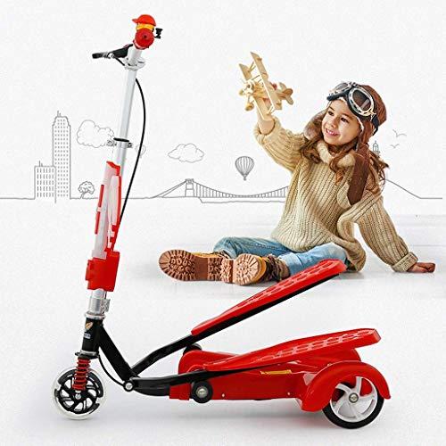 FANGDA Kinder Treten Stepper Roller mit Musik Fuß Auto Dreirad Flash-Rad 3 Höhenverstellbar Bike Jungen und Mädchen Roller im Alter von 4-15,Rot
