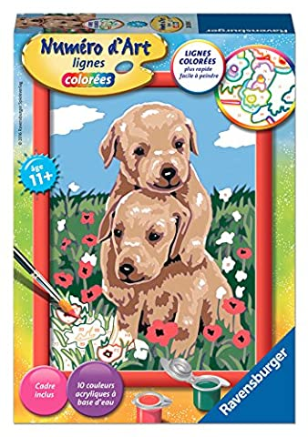 Ravensburger - 28039 - Numéro D'Art Petit Format - Petits Chiots Joueurs