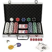 Display4top Juego de póquer con 300 Chips láser 12 Gramos núcleo de Metal, 2 Barajas de Cartas, Distribuidor, ciega pequeña, Big Blind Buttons y 5 Dados