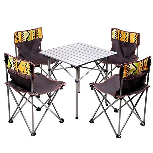 XAJGW Tragbarer Klapptisch für Kinder und 4 Stühle, Stahl Leichtes Outdoor Indoor Compact Set für BBQ, Camping, Angeln, Reisen, Wandern, Garten, Strand