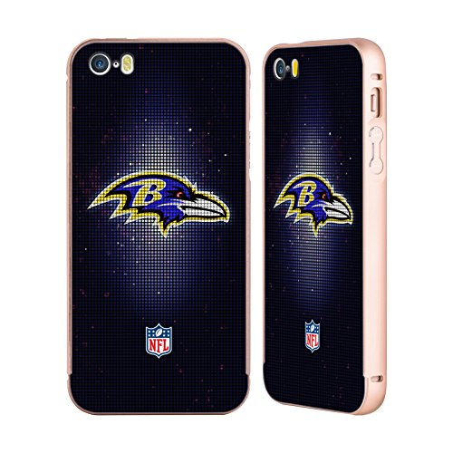 Ufficiale NFL Marmo 2017/18 Baltimore Ravens Oro Cover Contorno con Bumper in Alluminio per Apple iPhone 5 / 5s / SE LED