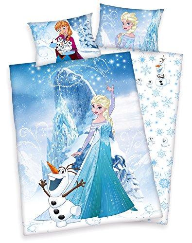 Frozen - Die Eiskönigin Kinder Bettwäsche 40x60cm 100x135cm, 100% Baumwolle Renforce