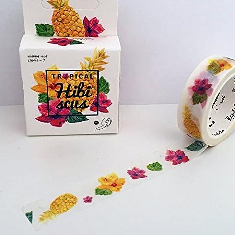 Tropical Hibiscus d'été Floral Washi Rouleau de ruban adhésif–Jaune Fleurs Rose Ananas–15mm x 7m ruban adhésif de masquage
