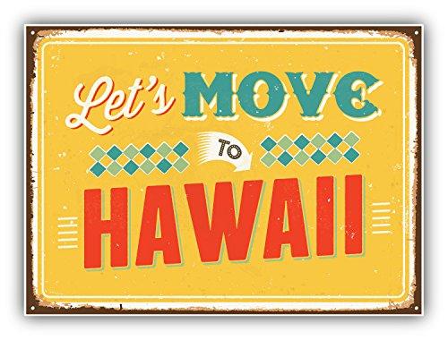 Let's Move To Hawaii Vintage Travel Label Art Decor Vinyl Sticker Aufkleber 12 x 10 cm -