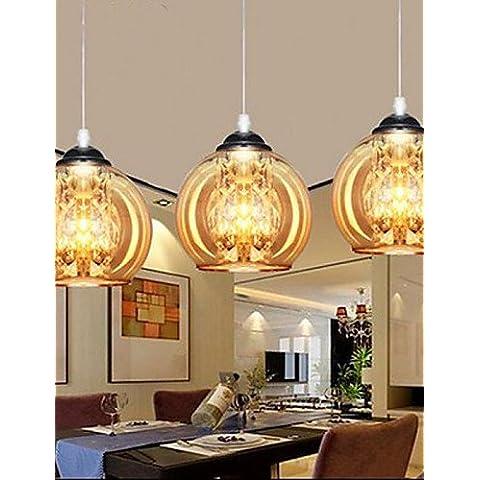 Palla di vetro Ciondolo lampada tre , bianco caldo- 90V-240V
