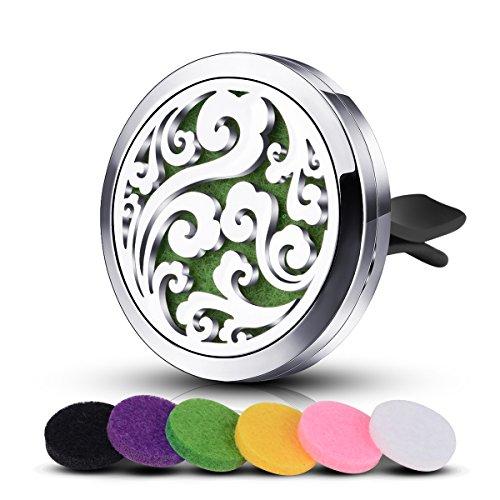 INFUSEU Auto Essenziale Olio Diffusore - Nuvola della vita Acciaio Inossidabile Medaglione Deodorante per Auto Aromaterapia Vento Clip + 6 Colori di R