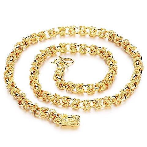 bigsoho Modeschmuck 18K Gelbgold vergoldet Kette Halskette Drache Design für Herren 60cm