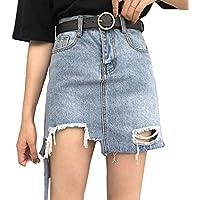 Las Mujeres Forman la Falda Irregular del Dril de algodón del Dobladillo de la Cintura Alta Falda Rasgada de los Agujeros de Bodycon Falda XS-M